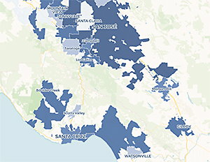 Map: rban displacement project at UC Berkeley