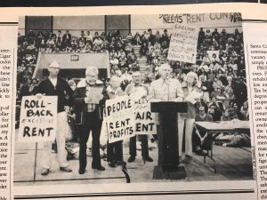 People before rent profits, pro-rent control rally.