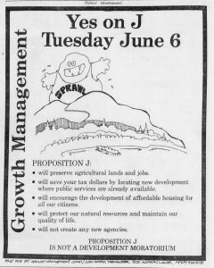 """""""Sprawl monster"""" ad from the Yes on J campaign, Santa Cruz Sentinel, 1978."""
