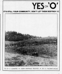 Pastoral scene of a ranch landscape from the Yes on O campaign, 1979.